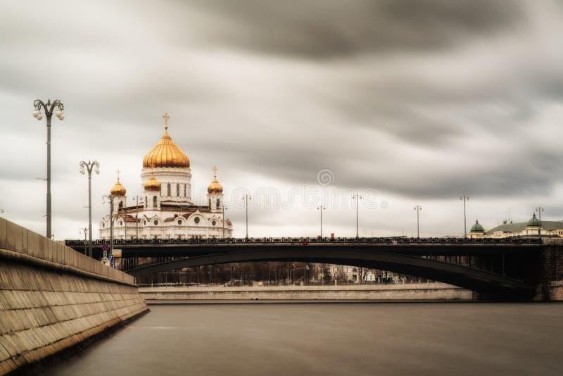 大教堂基督・莫斯科俄国救主正方形视图 免版税库存图片