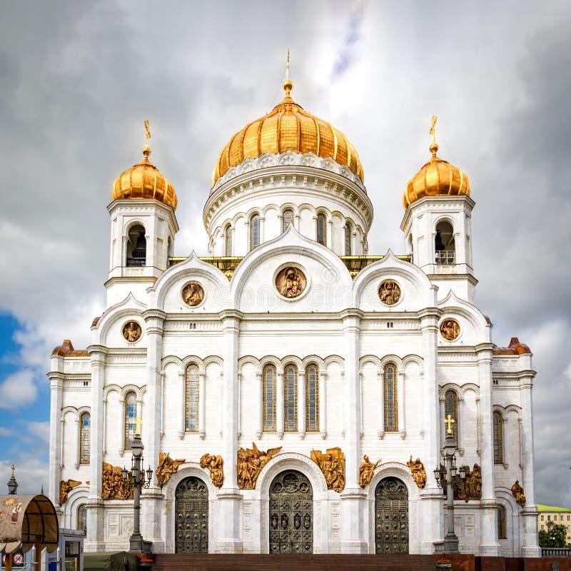 大教堂基督・莫斯科晚上俄国救主场面 图库摄影