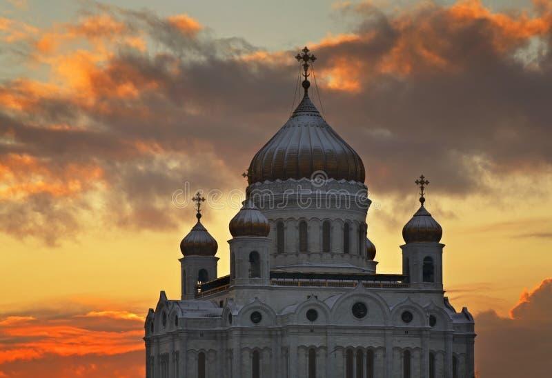 大教堂基督・莫斯科晚上俄国救主场面 俄国 库存图片