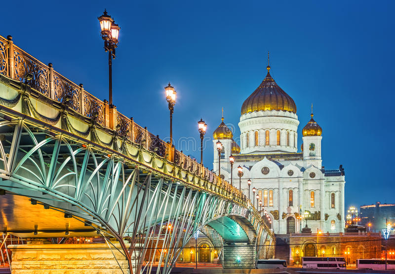 大教堂基督・莫斯科晚上俄国救主场面 库存照片