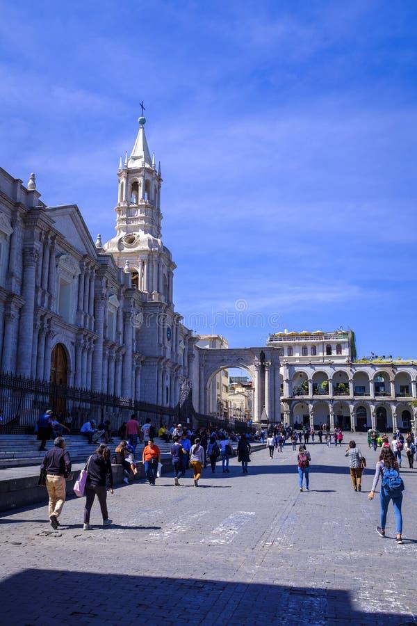 大教堂大教堂在阿雷基帕,秘鲁 库存照片