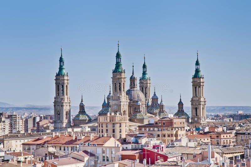 大教堂夫人我们的柱子西班牙萨瓦格萨 免版税库存照片