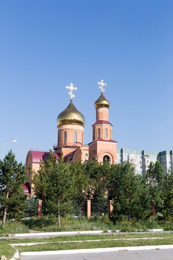 大教堂尼古拉斯st 铁米尔套,哈萨克斯坦 库存图片