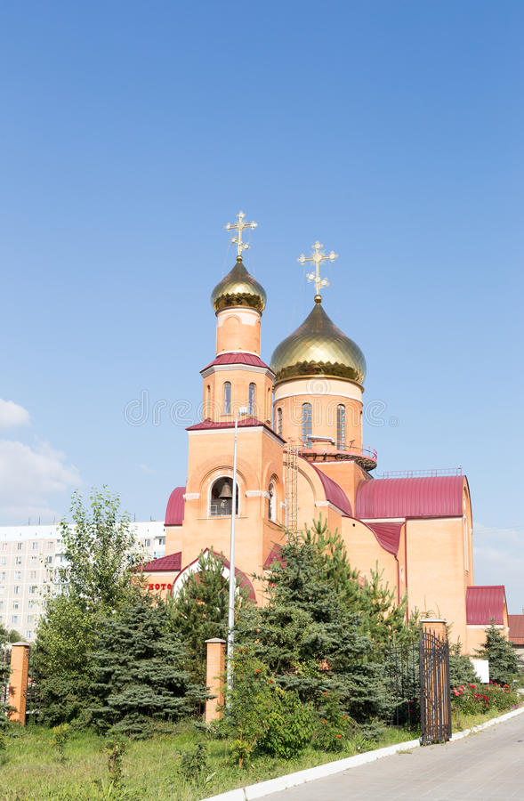 大教堂尼古拉斯st 铁米尔套,哈萨克斯坦 免版税库存图片