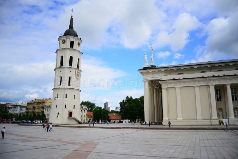 大教堂广场在中央维尔纽斯在夏天 库存图片
