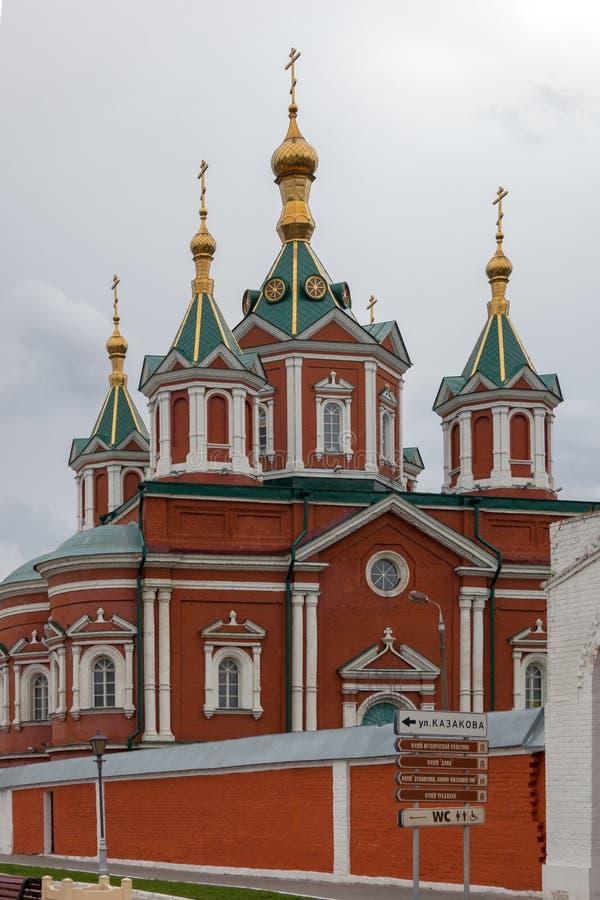 大教堂广场的建筑合奏在科洛姆纳克里姆林宫 免版税库存照片