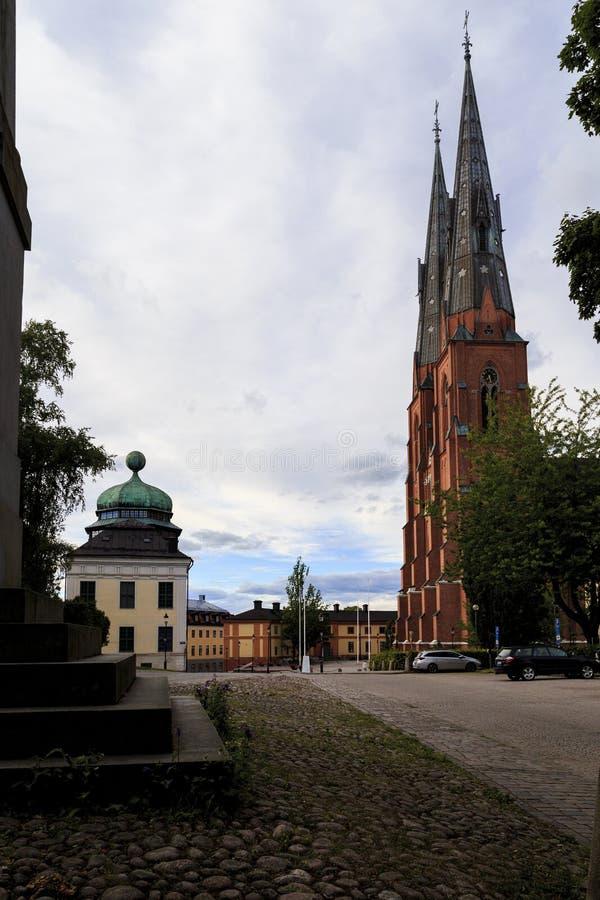 大教堂广场,乌普萨拉,瑞典 免版税库存照片
