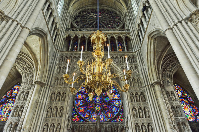 大教堂我们的兰斯或Notre Dame de兰斯的夫人 库存照片