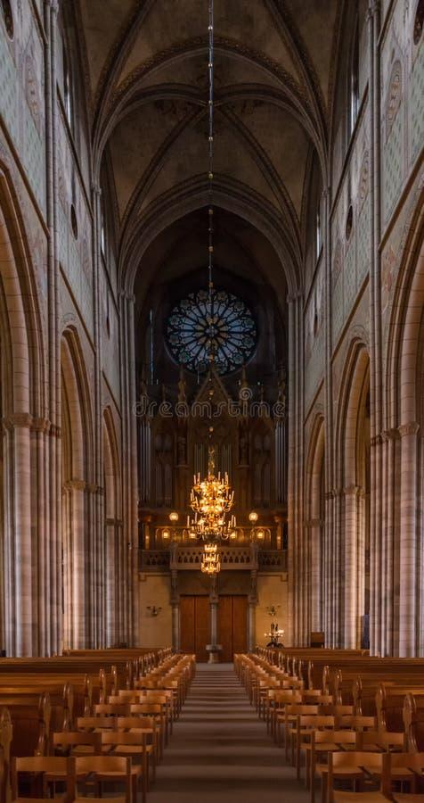 大教堂教堂中殿在乌普萨拉,瑞典 库存照片