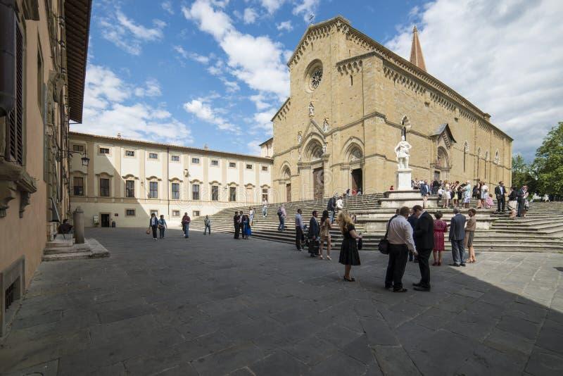 大教堂方形的阿雷佐托斯卡纳意大利欧洲 库存图片