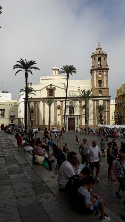 大教堂正方形,卡迪士,安达卢西亚,西班牙 库存照片