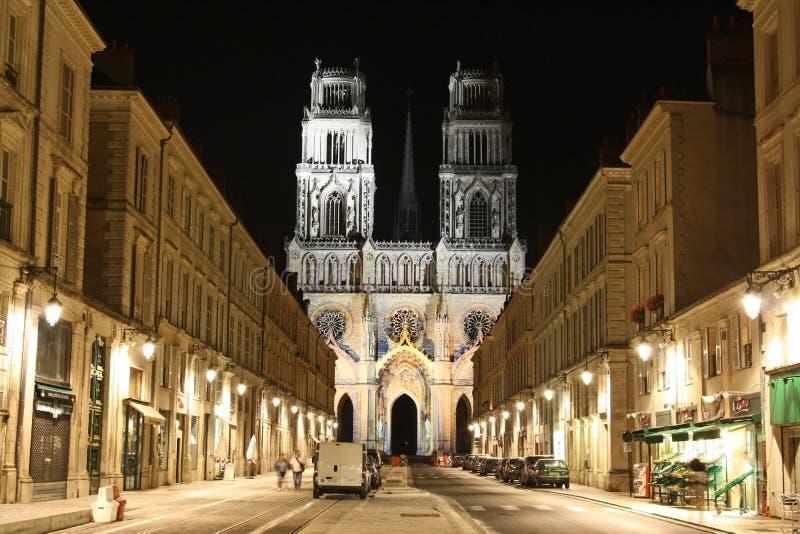 大教堂法国晚上奥尔良 库存图片