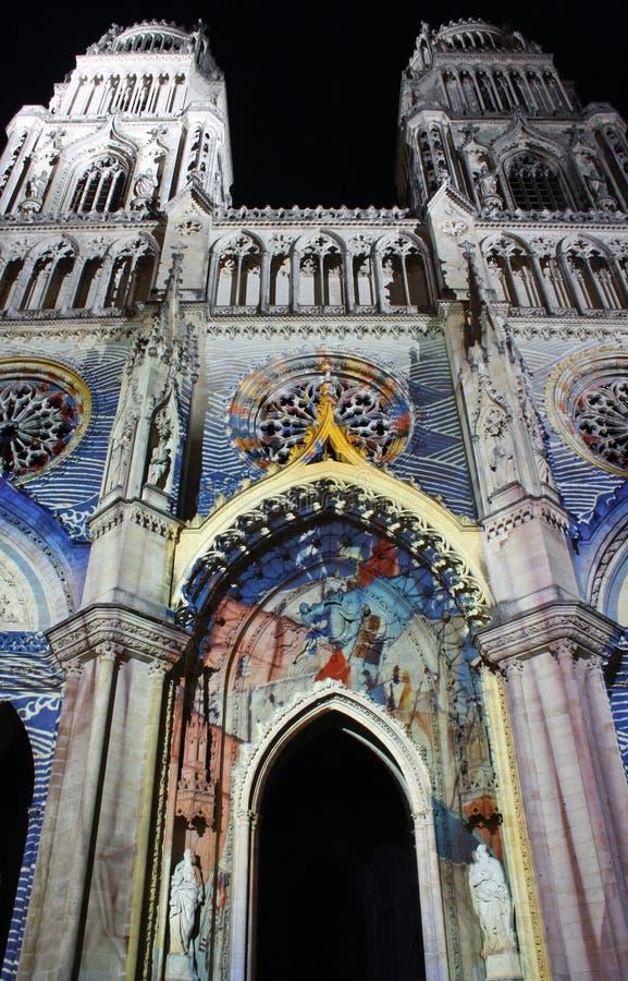 大教堂法国晚上奥尔良 免版税库存照片