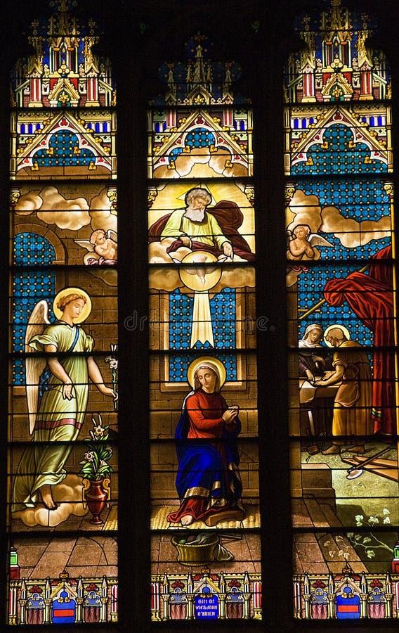 大教堂玻璃被弄脏的帕特里克s st 库存图片