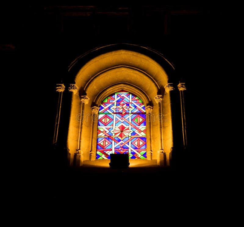 大教堂玻璃mezquita被弄脏的视窗 库存照片