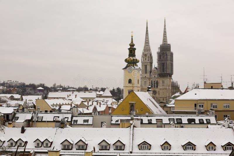 大教堂的看法在萨格勒布,克罗地亚 免版税库存图片