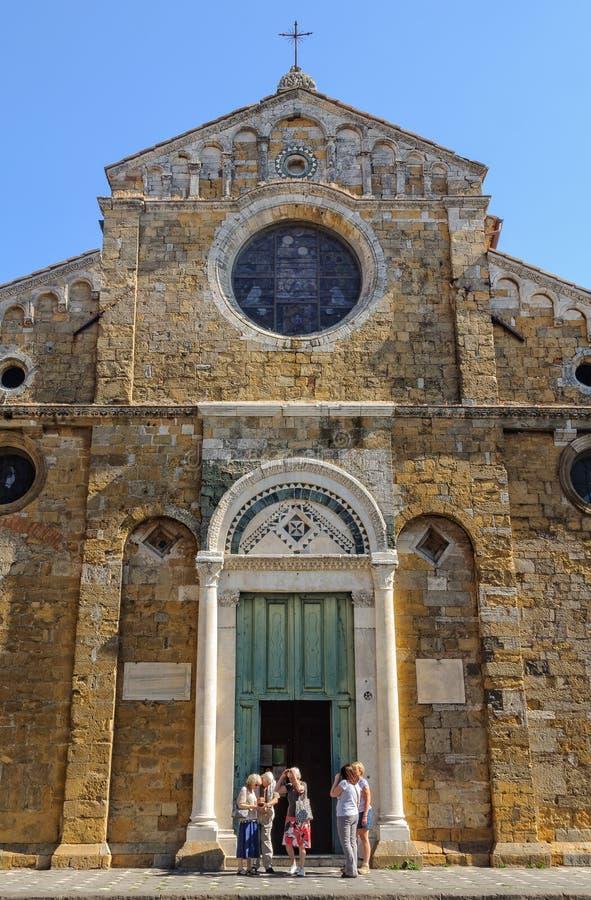 大教堂的门面-沃尔泰拉 免版税库存图片