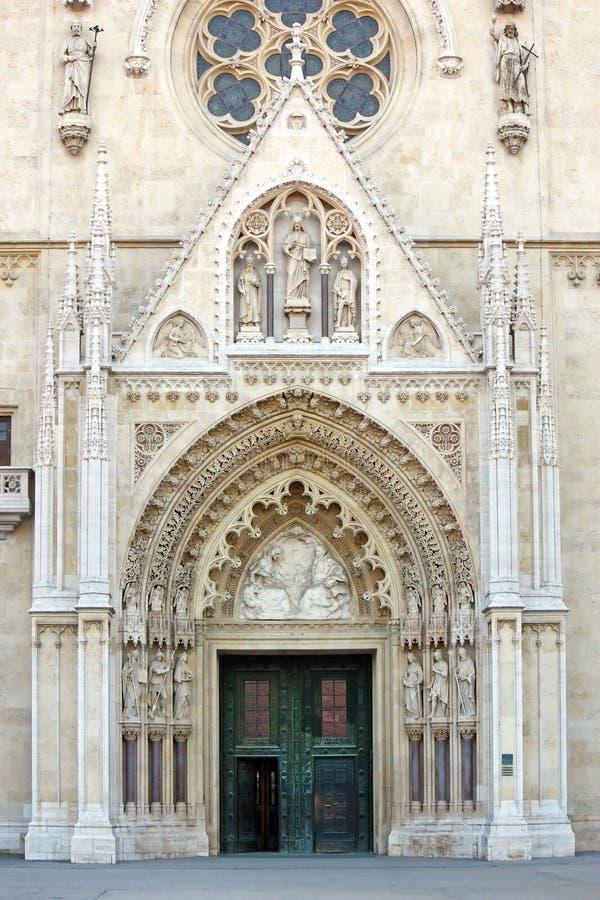 大教堂的细节在萨格勒布,克罗地亚 免版税库存照片