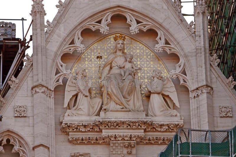 大教堂的细节在萨格勒布,克罗地亚 库存图片