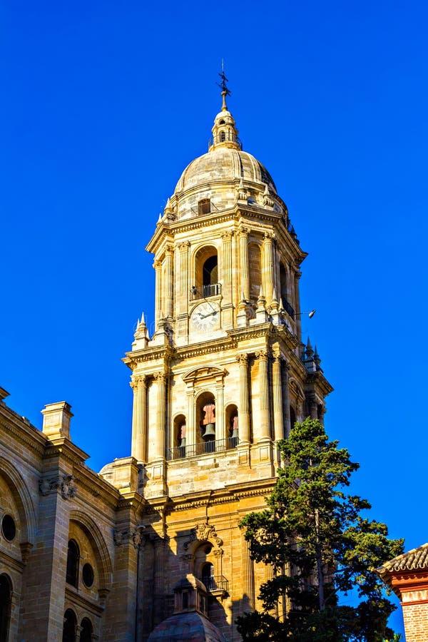 大教堂的Belltower在马拉加 库存图片