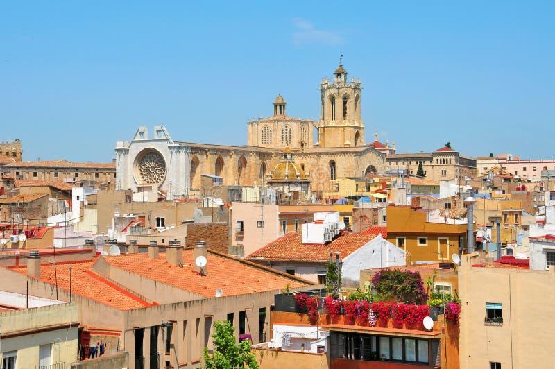 大教堂老西班牙塔拉贡纳城镇 免版税图库摄影