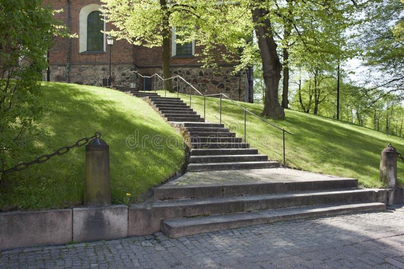 大教堂芬兰主要室外台阶 免版税库存图片