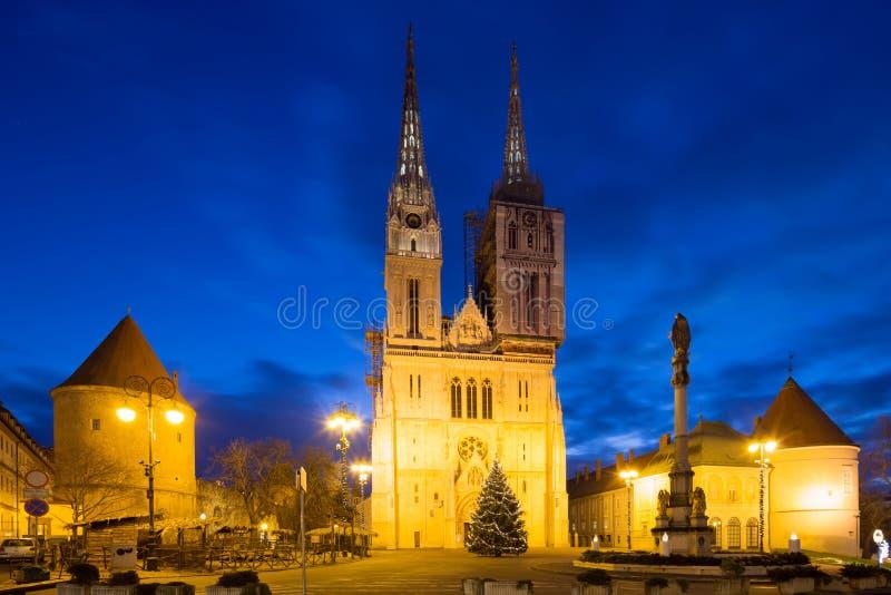 大教堂萨格勒布 克罗地亚 库存照片