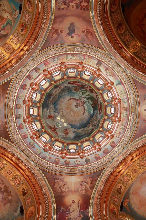 大教堂被生动描述的圆顶于 免版税库存图片
