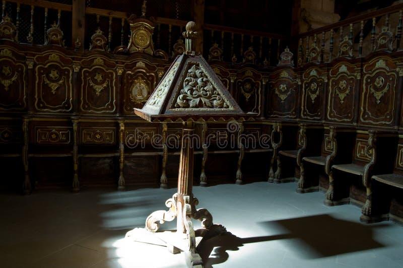 大教堂讲演台座位 库存照片