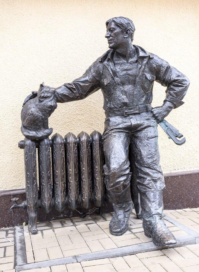 大教堂车道 雕塑配管,雕刻家米哈伊尔Ushakov 免版税库存照片