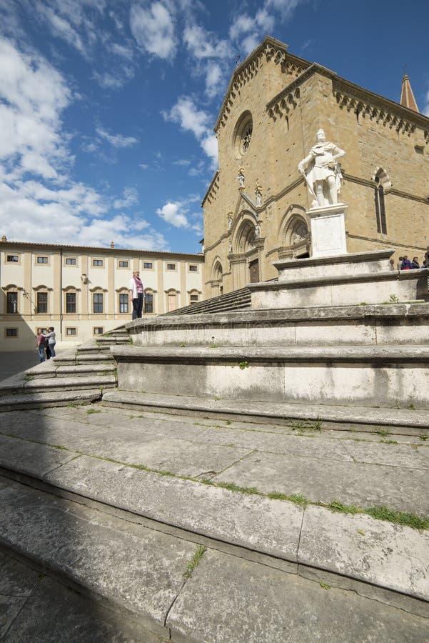 大教堂阿雷佐托斯坎意大利欧洲的门面 免版税库存照片