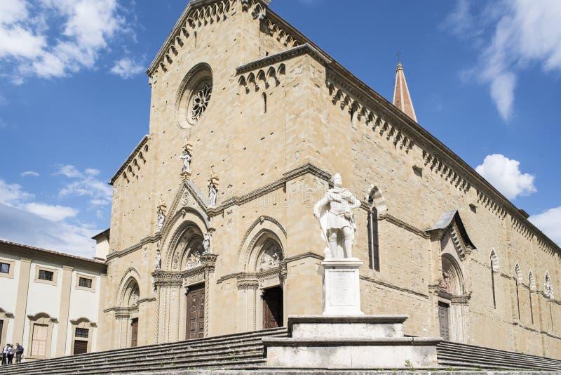 大教堂阿雷佐托斯坎意大利欧洲的门面 库存图片