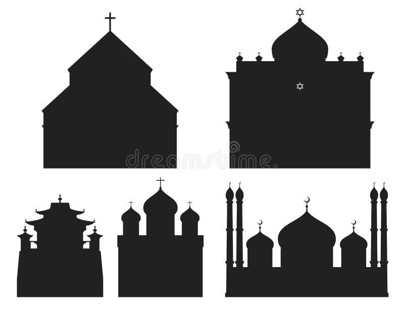 大教堂黑剪影教会寺庙传统建筑 皇族释放例证
