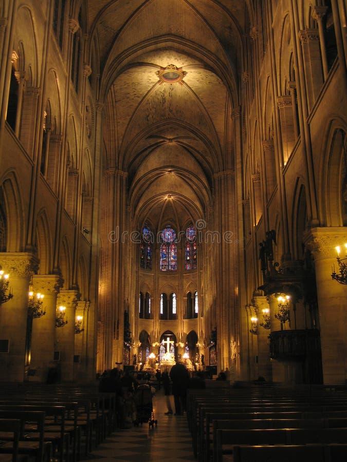 巴黎圣母院内部 免版税图库摄影