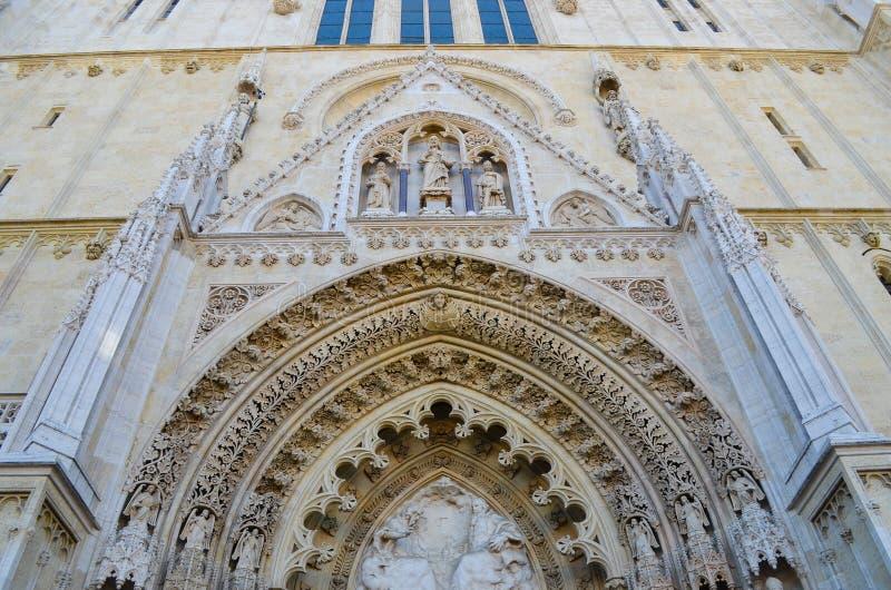 大教堂细节在萨格勒布,克罗地亚 库存照片