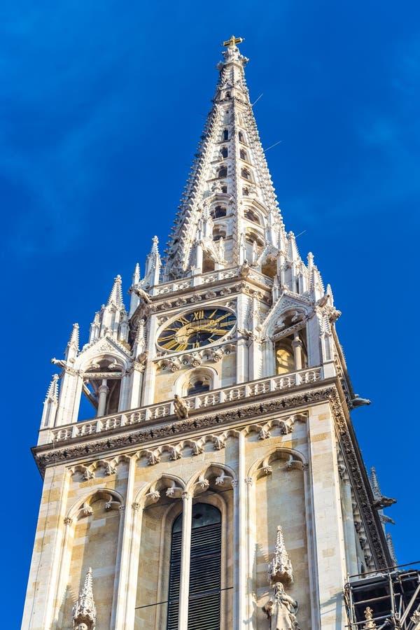 大教堂-萨格勒布,克罗地亚,欧洲塔  库存照片