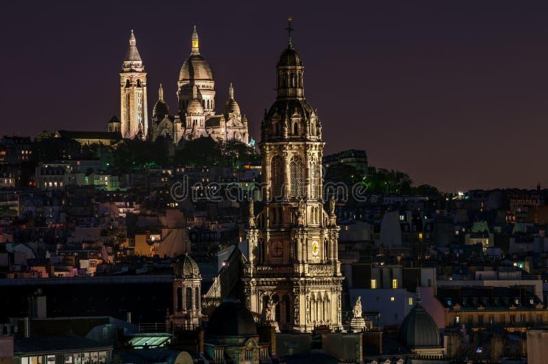大教堂coeur法国巴黎sacre 图库摄影