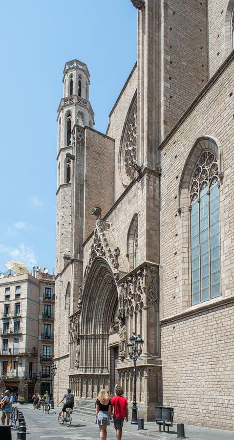大教堂de圣玛丽亚Del Mar 巴塞罗那西班牙 免版税库存图片