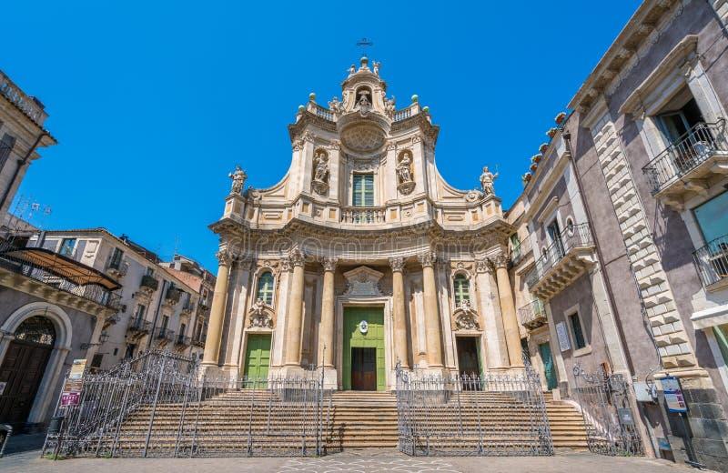 大教堂della Collegiata在卡塔尼亚,西西里岛,南意大利 免版税库存图片