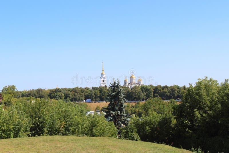 大教堂Dormition,弗拉基米尔镇,俄罗斯的看法 免版税库存图片