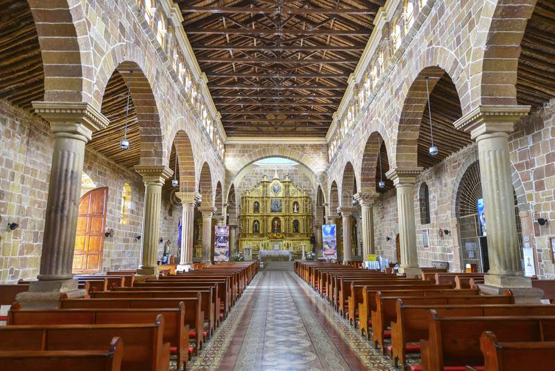 大教堂Inmaculada康塞普西翁角在Barichara,哥伦比亚 库存图片