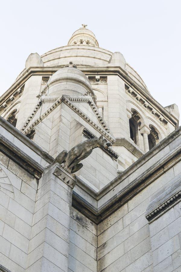 大教堂Sacré Coeur在蒙马特,巴黎,法国 库存照片