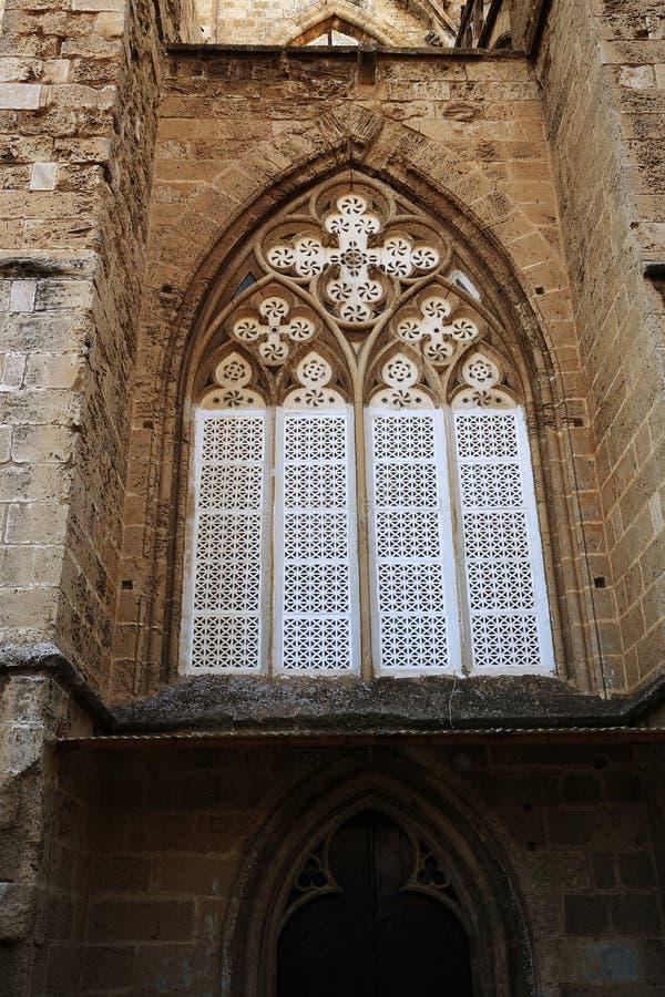 大教堂stNicolas (Lala穆斯塔法巴夏清真寺)在市法马古斯塔,北赛普勒斯土耳其共和国 库存照片