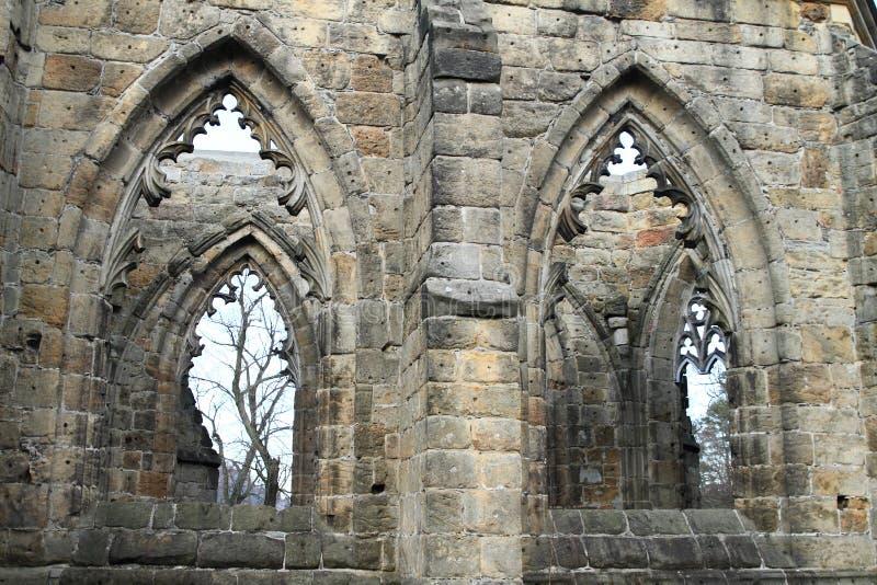 大教堂Windows奥伊宾城堡和修道院的 库存照片