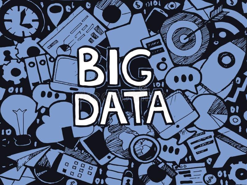 大数据乱画剪影 向量例证