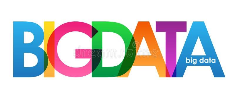 大数据五颜六色的重叠的信件横幅 库存例证