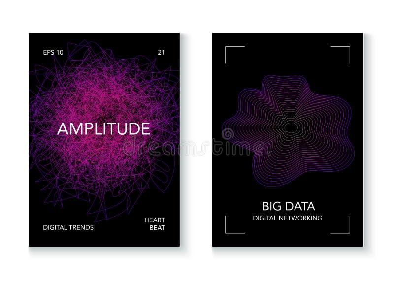 大数据人工智能传染媒介背景 网络空间网上教育未来设计 大数据Techno音乐海报 库存例证