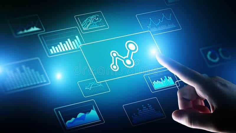 大数据分析,商业情报,技术在虚屏上的解答概念 向量例证