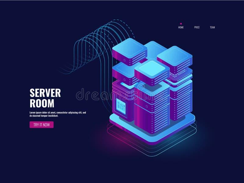 大数据处理、blockchain技术、象征性的通入系统、服务器室、datacenter和数据库象,网VPB和 向量例证