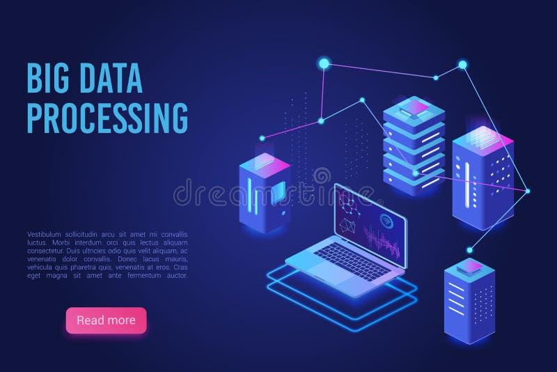 大数据处理和分析着陆页传染媒介模板 逻辑分析方法数据服务器,服务器室横幅,网络主持 向量例证